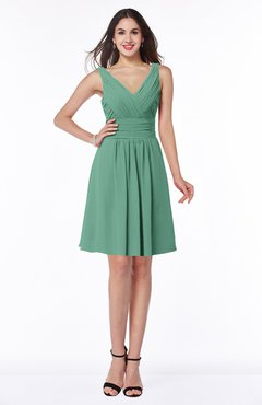 ColsBM Celia Beryl Green Plain Sleeveless Half Backless Chiffon Knee Length Ruching Plus Size Bridesmaid Dresses