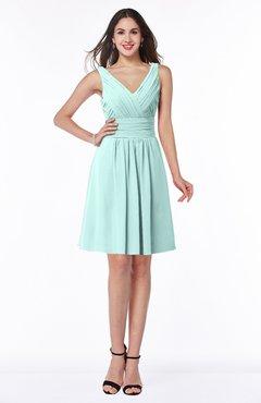 ColsBM Celia Blue Glass Plain Sleeveless Half Backless Chiffon Knee Length Ruching Plus Size Bridesmaid Dresses
