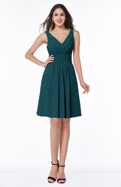 ColsBM Celia Blue Green Plain Sleeveless Half Backless Chiffon Knee Length Ruching Plus Size Bridesmaid Dresses