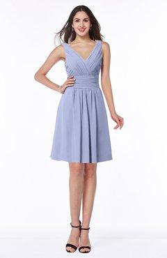 ColsBM Celia Blue Heron Plain Sleeveless Half Backless Chiffon Knee Length Ruching Plus Size Bridesmaid Dresses