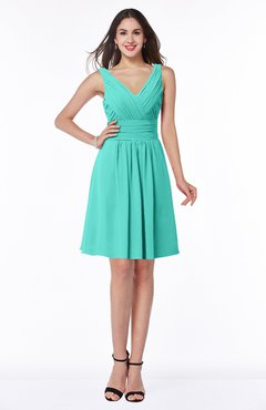 ColsBM Celia Blue Turquoise Plain Sleeveless Half Backless Chiffon Knee Length Ruching Plus Size Bridesmaid Dresses