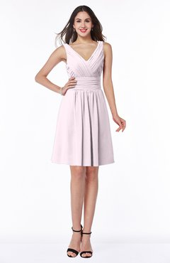ColsBM Celia Blush Plain Sleeveless Half Backless Chiffon Knee Length Ruching Plus Size Bridesmaid Dresses