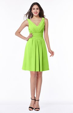 ColsBM Celia Bright Green Plain Sleeveless Half Backless Chiffon Knee Length Ruching Plus Size Bridesmaid Dresses