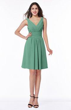 ColsBM Celia Bristol Blue Plain Sleeveless Half Backless Chiffon Knee Length Ruching Plus Size Bridesmaid Dresses