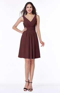 ColsBM Celia Burgundy Plain Sleeveless Half Backless Chiffon Knee Length Ruching Plus Size Bridesmaid Dresses