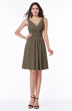 ColsBM Celia Carafe Brown Plain Sleeveless Half Backless Chiffon Knee Length Ruching Plus Size Bridesmaid Dresses