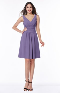 ColsBM Celia Chalk Violet Plain Sleeveless Half Backless Chiffon Knee Length Ruching Plus Size Bridesmaid Dresses