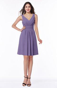ColsBM Celia Chalk Violet Plain Sleeveless Half Backless Chiffon Knee Length Ruching Plus Size Bridesmaid Dresses