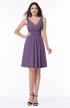 ColsBM Celia Chinese Violet Plain Sleeveless Half Backless Chiffon Knee Length Ruching Plus Size Bridesmaid Dresses