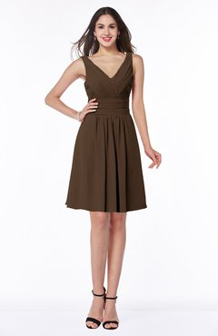 ColsBM Celia Chocolate Brown Plain Sleeveless Half Backless Chiffon Knee Length Ruching Plus Size Bridesmaid Dresses