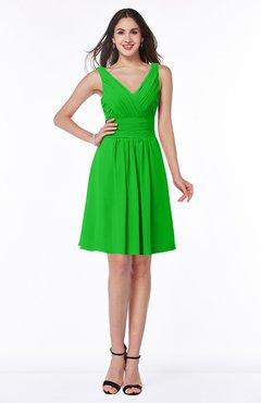ColsBM Celia Classic Green Plain Sleeveless Half Backless Chiffon Knee Length Ruching Plus Size Bridesmaid Dresses