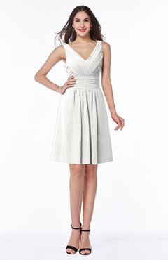 ColsBM Celia Cloud White Plain Sleeveless Half Backless Chiffon Knee Length Ruching Plus Size Bridesmaid Dresses
