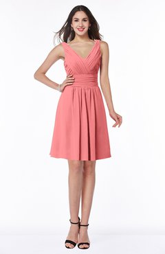 ColsBM Celia Coral Plain Sleeveless Half Backless Chiffon Knee Length Ruching Plus Size Bridesmaid Dresses