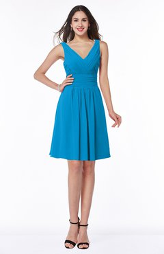 ColsBM Celia Cornflower Blue Plain Sleeveless Half Backless Chiffon Knee Length Ruching Plus Size Bridesmaid Dresses