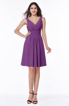 ColsBM Celia Dahlia Plain Sleeveless Half Backless Chiffon Knee Length Ruching Plus Size Bridesmaid Dresses