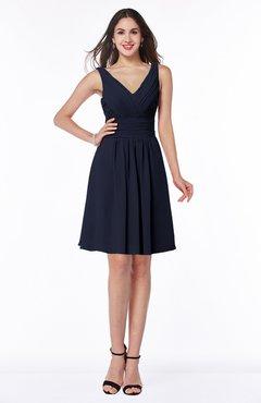ColsBM Celia Dark Sapphire Plain Sleeveless Half Backless Chiffon Knee Length Ruching Plus Size Bridesmaid Dresses
