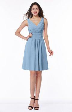 ColsBM Celia Dusty Blue Plain Sleeveless Half Backless Chiffon Knee Length Ruching Plus Size Bridesmaid Dresses