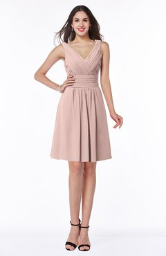 ColsBM Celia Dusty Rose Plain Sleeveless Half Backless Chiffon Knee Length Ruching Plus Size Bridesmaid Dresses