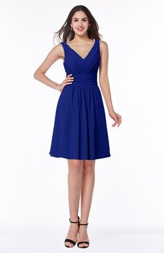 ColsBM Celia Electric Blue Plain Sleeveless Half Backless Chiffon Knee Length Ruching Plus Size Bridesmaid Dresses
