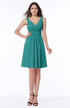 ColsBM Celia Emerald Green Plain Sleeveless Half Backless Chiffon Knee Length Ruching Plus Size Bridesmaid Dresses