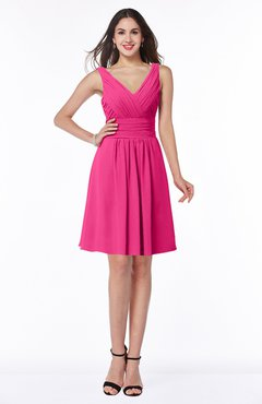 ColsBM Celia Fandango Pink Plain Sleeveless Half Backless Chiffon Knee Length Ruching Plus Size Bridesmaid Dresses