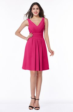 ColsBM Celia Fuschia Plain Sleeveless Half Backless Chiffon Knee Length Ruching Plus Size Bridesmaid Dresses