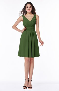 ColsBM Celia Garden Green Plain Sleeveless Half Backless Chiffon Knee Length Ruching Plus Size Bridesmaid Dresses