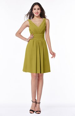 ColsBM Celia Golden Olive Plain Sleeveless Half Backless Chiffon Knee Length Ruching Plus Size Bridesmaid Dresses