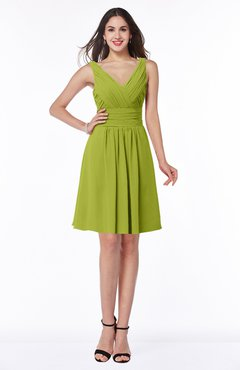 ColsBM Celia Green Oasis Plain Sleeveless Half Backless Chiffon Knee Length Ruching Plus Size Bridesmaid Dresses