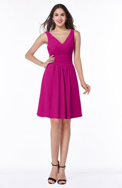 ColsBM Celia Hot Pink Plain Sleeveless Half Backless Chiffon Knee Length Ruching Plus Size Bridesmaid Dresses