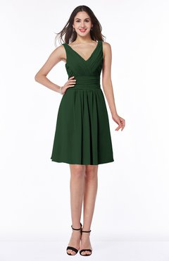 ColsBM Celia Hunter Green Plain Sleeveless Half Backless Chiffon Knee Length Ruching Plus Size Bridesmaid Dresses