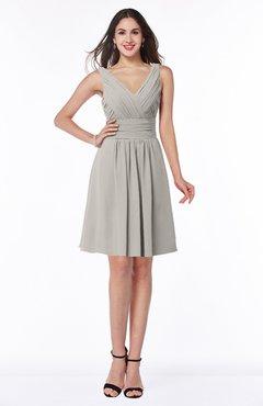 ColsBM Celia Hushed Violet Plain Sleeveless Half Backless Chiffon Knee Length Ruching Plus Size Bridesmaid Dresses