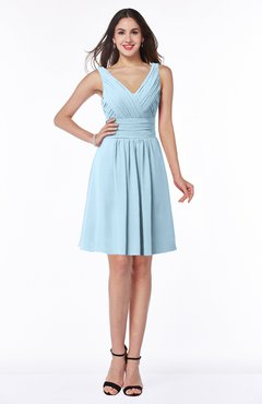 ColsBM Celia Ice Blue Plain Sleeveless Half Backless Chiffon Knee Length Ruching Plus Size Bridesmaid Dresses