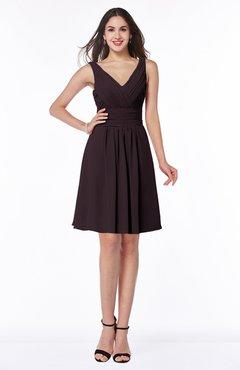 ColsBM Celia Italian Plum Plain Sleeveless Half Backless Chiffon Knee Length Ruching Plus Size Bridesmaid Dresses