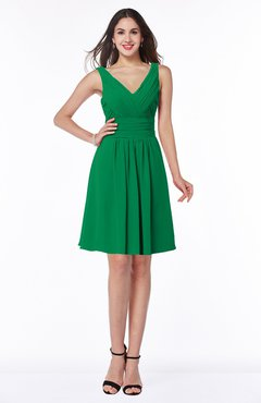 ColsBM Celia Jelly Bean Plain Sleeveless Half Backless Chiffon Knee Length Ruching Plus Size Bridesmaid Dresses