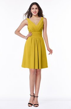 ColsBM Celia Lemon Curry Plain Sleeveless Half Backless Chiffon Knee Length Ruching Plus Size Bridesmaid Dresses
