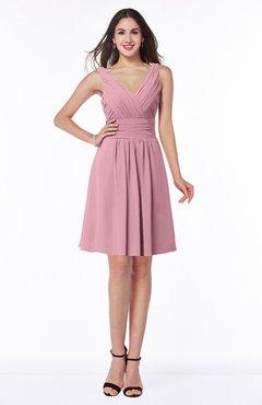 ColsBM Celia Light Coral Plain Sleeveless Half Backless Chiffon Knee Length Ruching Plus Size Bridesmaid Dresses
