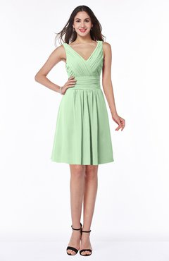 ColsBM Celia Light Green Plain Sleeveless Half Backless Chiffon Knee Length Ruching Plus Size Bridesmaid Dresses