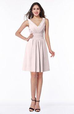 ColsBM Celia Light Pink Plain Sleeveless Half Backless Chiffon Knee Length Ruching Plus Size Bridesmaid Dresses