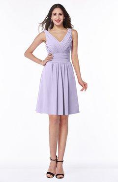 ColsBM Celia Light Purple Plain Sleeveless Half Backless Chiffon Knee Length Ruching Plus Size Bridesmaid Dresses