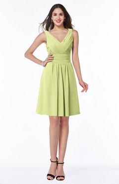 ColsBM Celia Lime Green Plain Sleeveless Half Backless Chiffon Knee Length Ruching Plus Size Bridesmaid Dresses