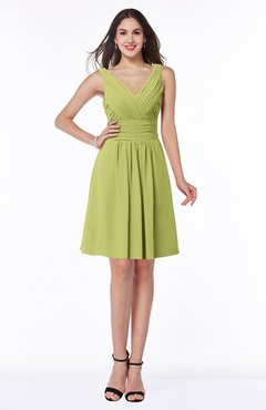 ColsBM Celia Linden Green Plain Sleeveless Half Backless Chiffon Knee Length Ruching Plus Size Bridesmaid Dresses