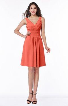 ColsBM Celia Living Coral Plain Sleeveless Half Backless Chiffon Knee Length Ruching Plus Size Bridesmaid Dresses