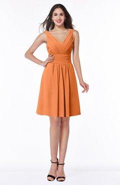 ColsBM Celia Mango Plain Sleeveless Half Backless Chiffon Knee Length Ruching Plus Size Bridesmaid Dresses