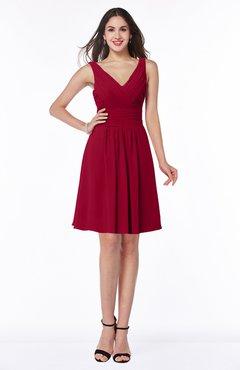 ColsBM Celia Maroon Plain Sleeveless Half Backless Chiffon Knee Length Ruching Plus Size Bridesmaid Dresses