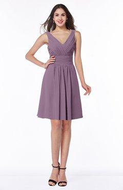 ColsBM Celia Mauve Plain Sleeveless Half Backless Chiffon Knee Length Ruching Plus Size Bridesmaid Dresses