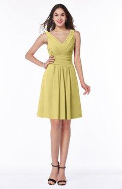 ColsBM Celia Misted Yellow Plain Sleeveless Half Backless Chiffon Knee Length Ruching Plus Size Bridesmaid Dresses