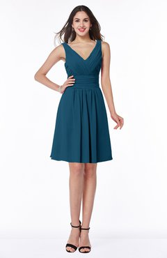 ColsBM Celia Moroccan Blue Plain Sleeveless Half Backless Chiffon Knee Length Ruching Plus Size Bridesmaid Dresses