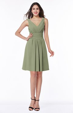 ColsBM Celia Moss Green Plain Sleeveless Half Backless Chiffon Knee Length Ruching Plus Size Bridesmaid Dresses