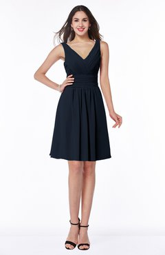 ColsBM Celia Navy Blue Plain Sleeveless Half Backless Chiffon Knee Length Ruching Plus Size Bridesmaid Dresses